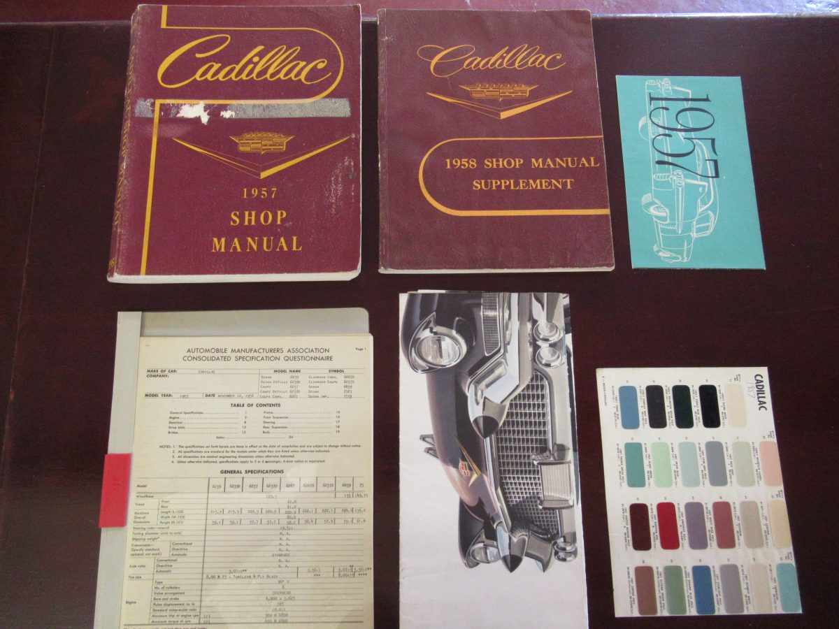 1957/58 cadillac work shop manuals, supplements, original paint charts etc